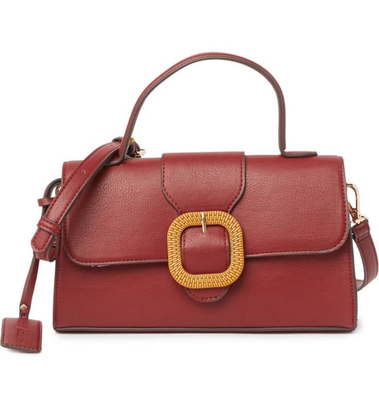 SOLE SOCIETY Lumi Buckle Flap Faux Leather Crossbody Bag, Main, color, BERRY