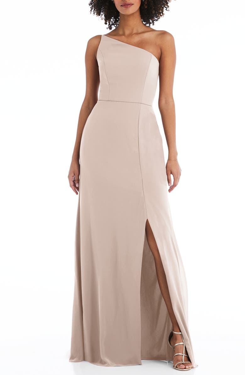 AFTER SIX One-Shoulder Crepe Trumpet Gown, Main, color, CAMEO