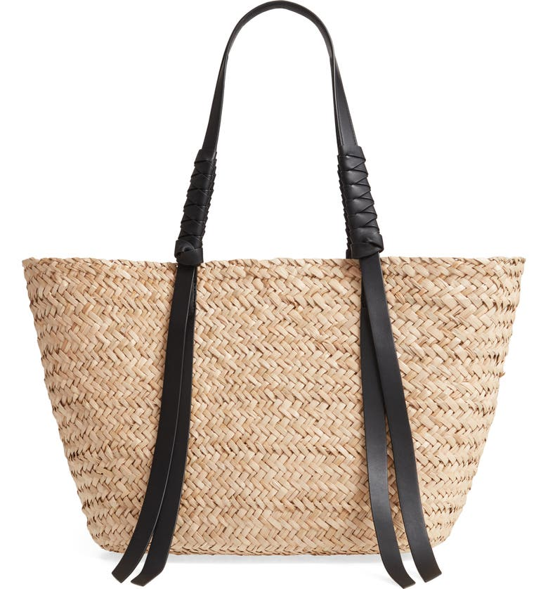 ALLSAINTS Playa East/West Woven Straw Beach Tote, Main, color, 255