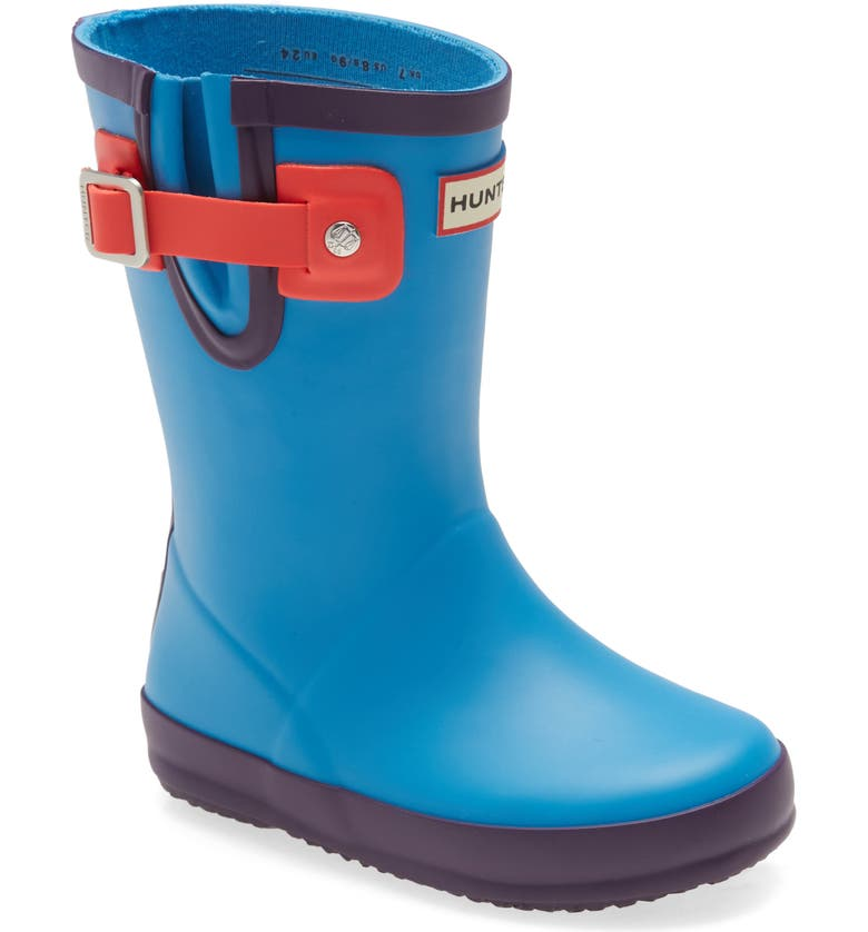 HUNTER Buckle Strap Waterproof Rain Boot, Main, color, BLUE BOTTLE/ BLUE/ CARGILL