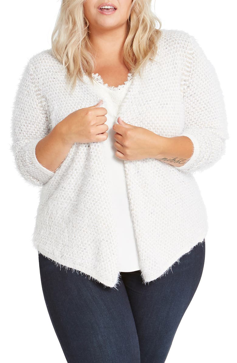 NIC+ZOE The Right Fluff Open Front Cardigan, Main, color, NEUTRAL MIX