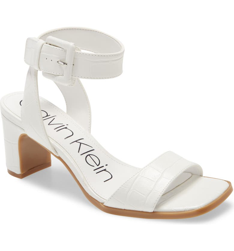 CALVIN KLEIN Damita Ankle Strap Sandal, Main, color, WHITE FAUX LEATHER