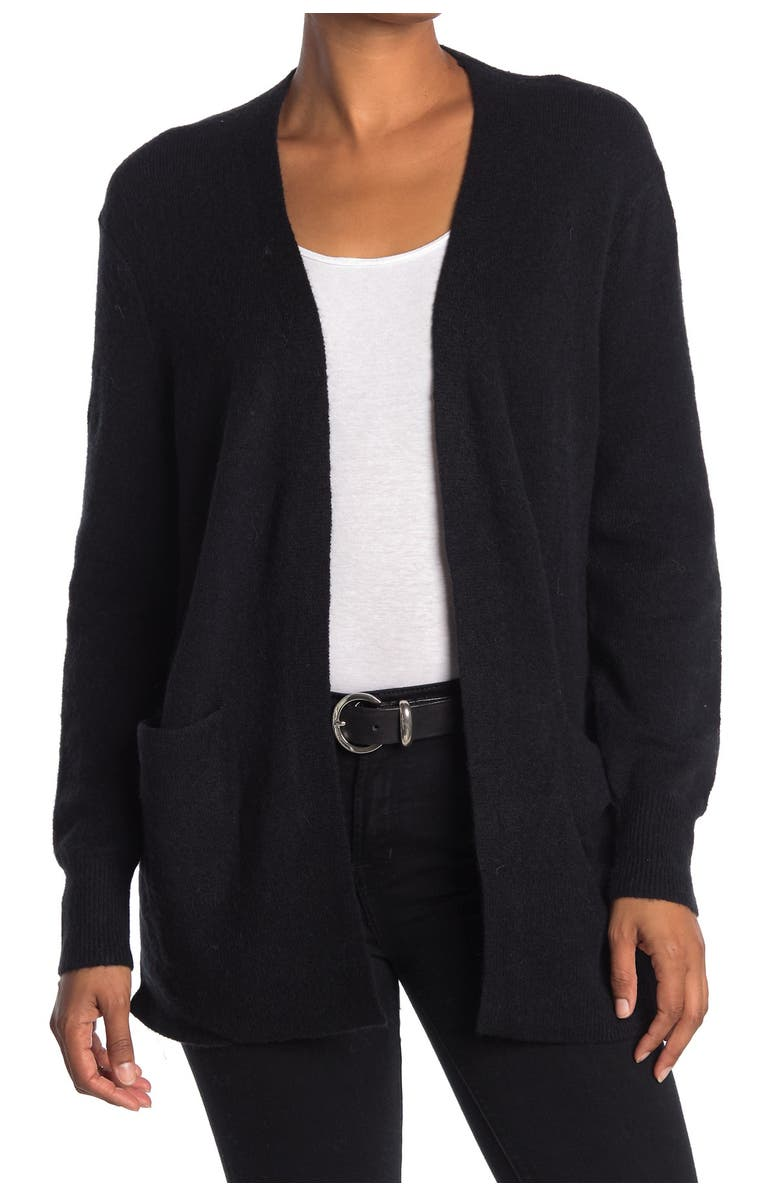 MADEWELL Open Front Patch Pocket Cardigan, Main, color, TRUE BLACK