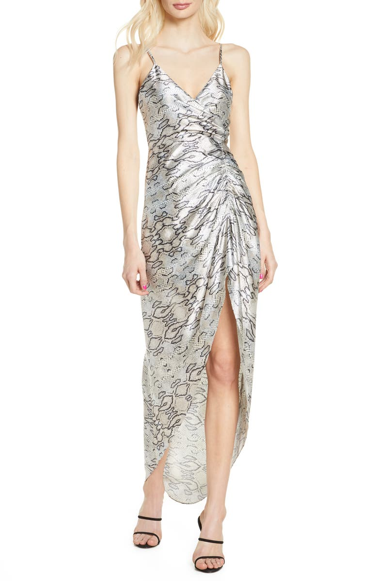 BELLEVUE THE LABEL Snakeskin Print Ruched Satin Maxi Dress, Main, color, 900