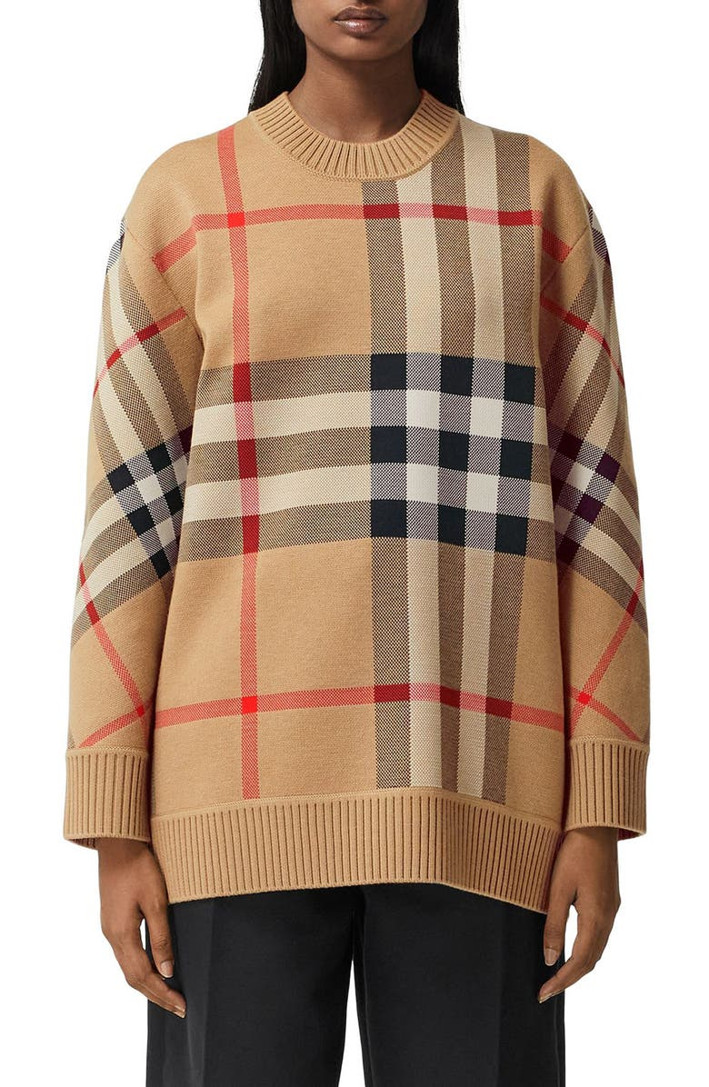 BURBERRY Calee Check Jacquard Sweater, Main, color, ARCHIVE BEIGE