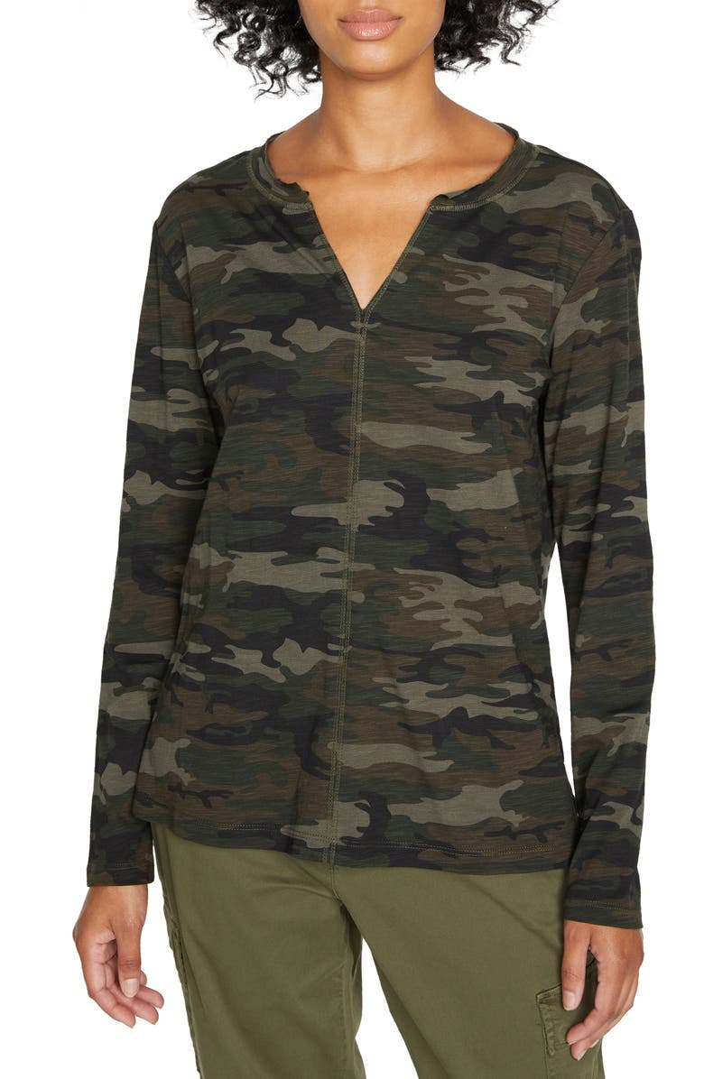 SANCTUARY Ives Long Sleeve Top, Main, color, FOREST CAMO