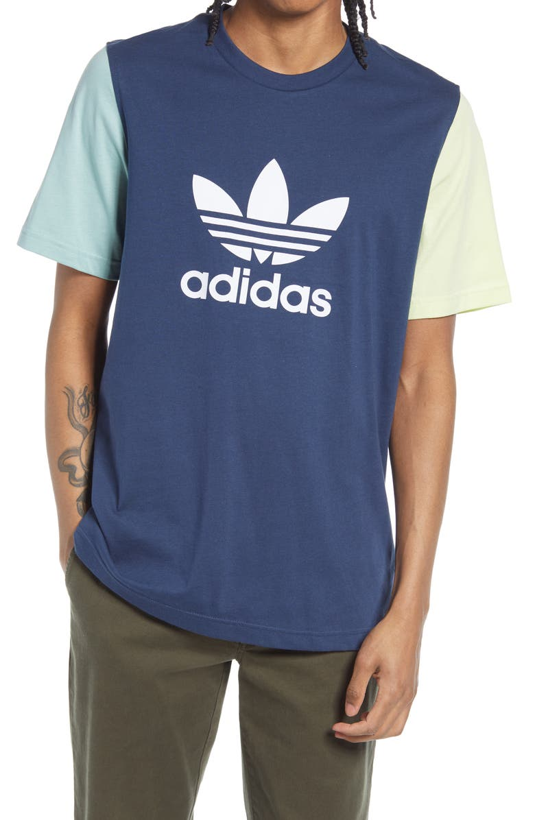 ADIDAS ORIGINALS Contrast Sleeve Trefoil Graphic Tee, Main, color, CREW NAVY/ HAZY GREEN