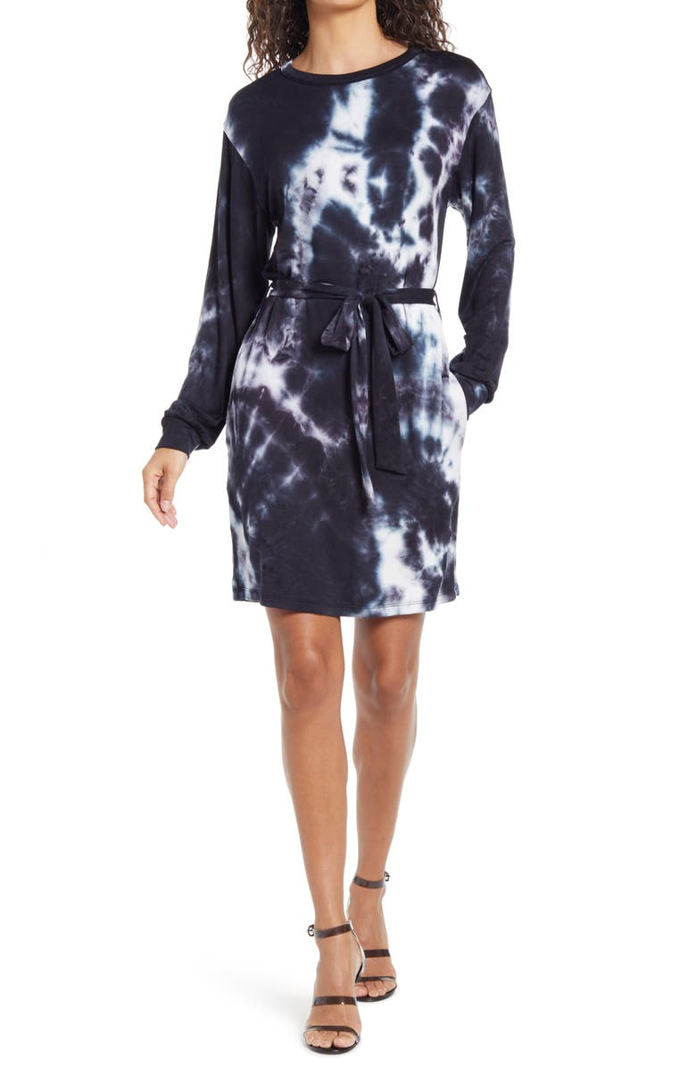 FRAICHE BY J Tie Dye Long Sleeve T-Shirt Dress, Main, color, BLACK