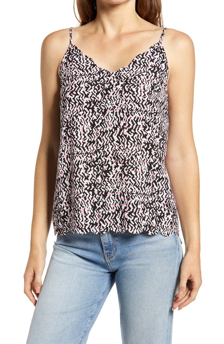 HALOGEN<SUP>®</SUP> Scallop Detail Camisole, Main, color, PINK AZALEA SPOTTED PLD