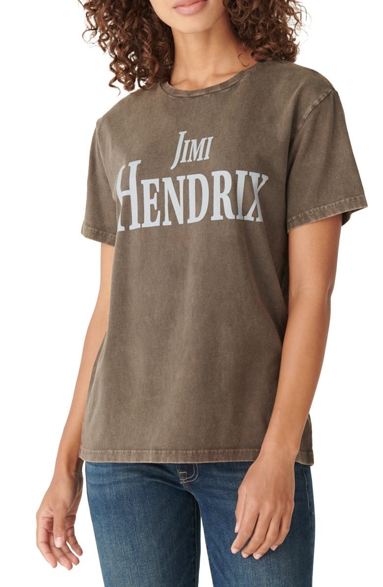 LUCKY BRAND Jimi Hendrix Relaxed Boyfriend Cotton Graphic Tee, Main, color, 060
