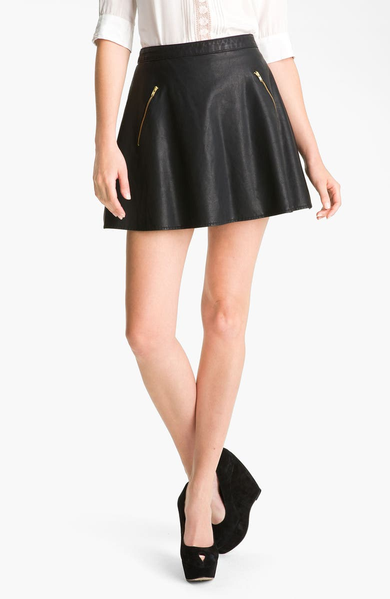 FREE PEOPLE Faux Leather Skirt, Main, color, Black