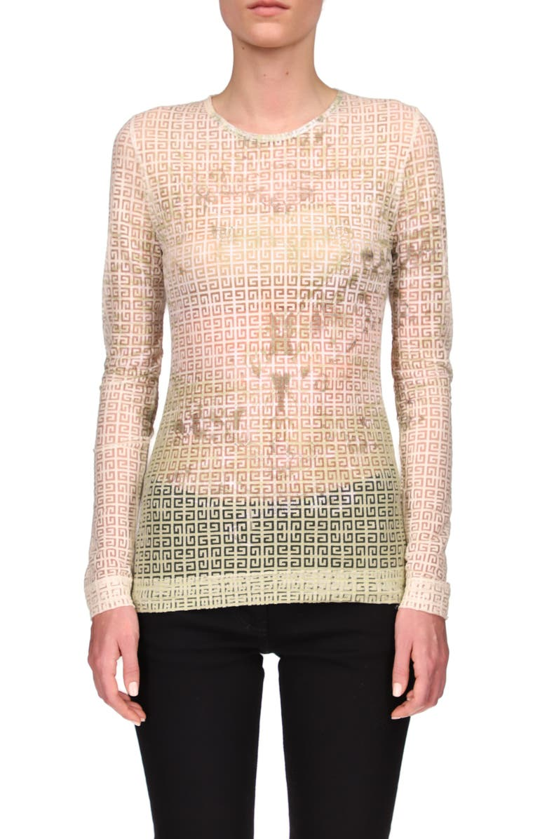 GIVENCHY Fitted 4G Logo Tulle Top, Main, color, MULTICOLORED