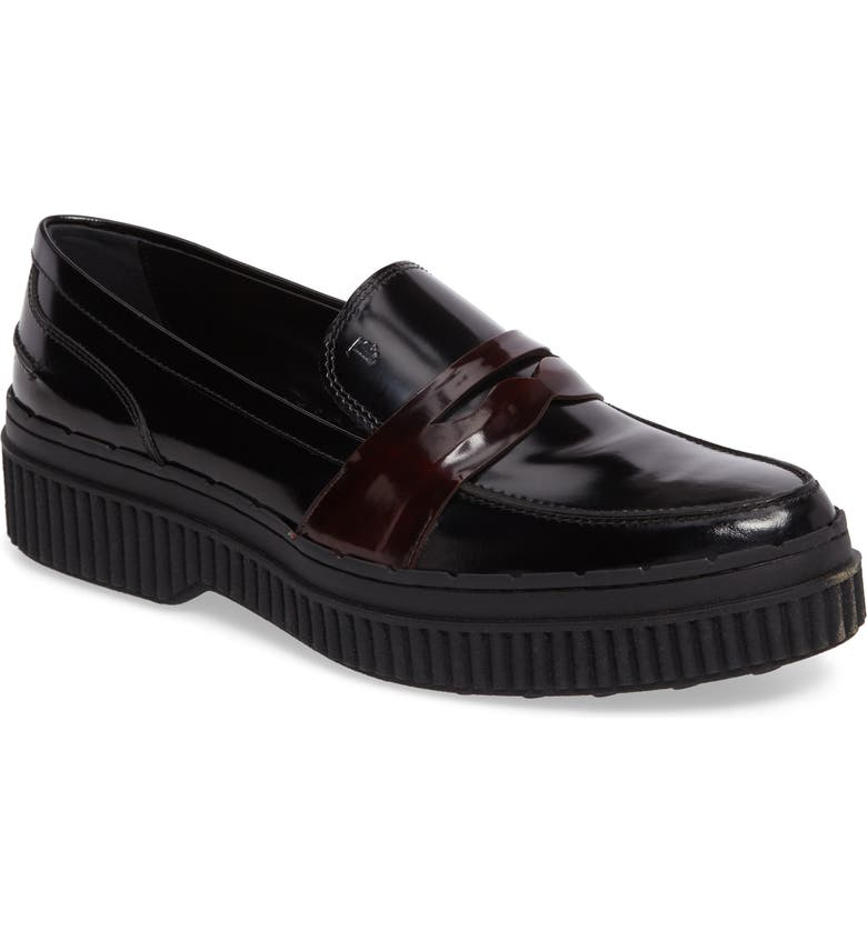 TOD'S Penny Creeper Loafer, Main, color, 001