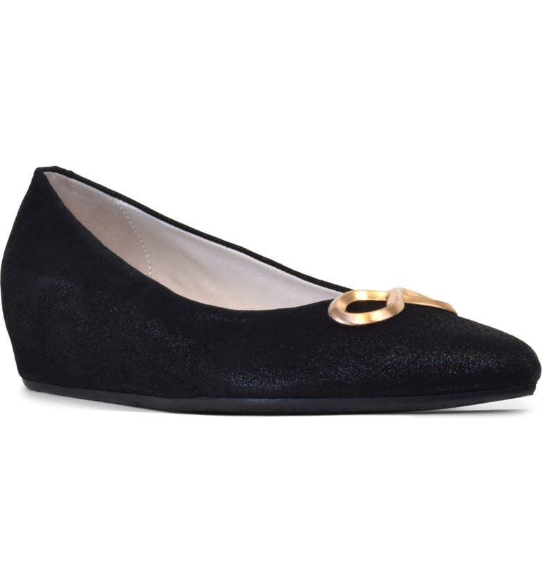 AMALFI BY RANGONI Arlo Pointed Toe Wedge Pump, Main, color, BLACK SUEDE