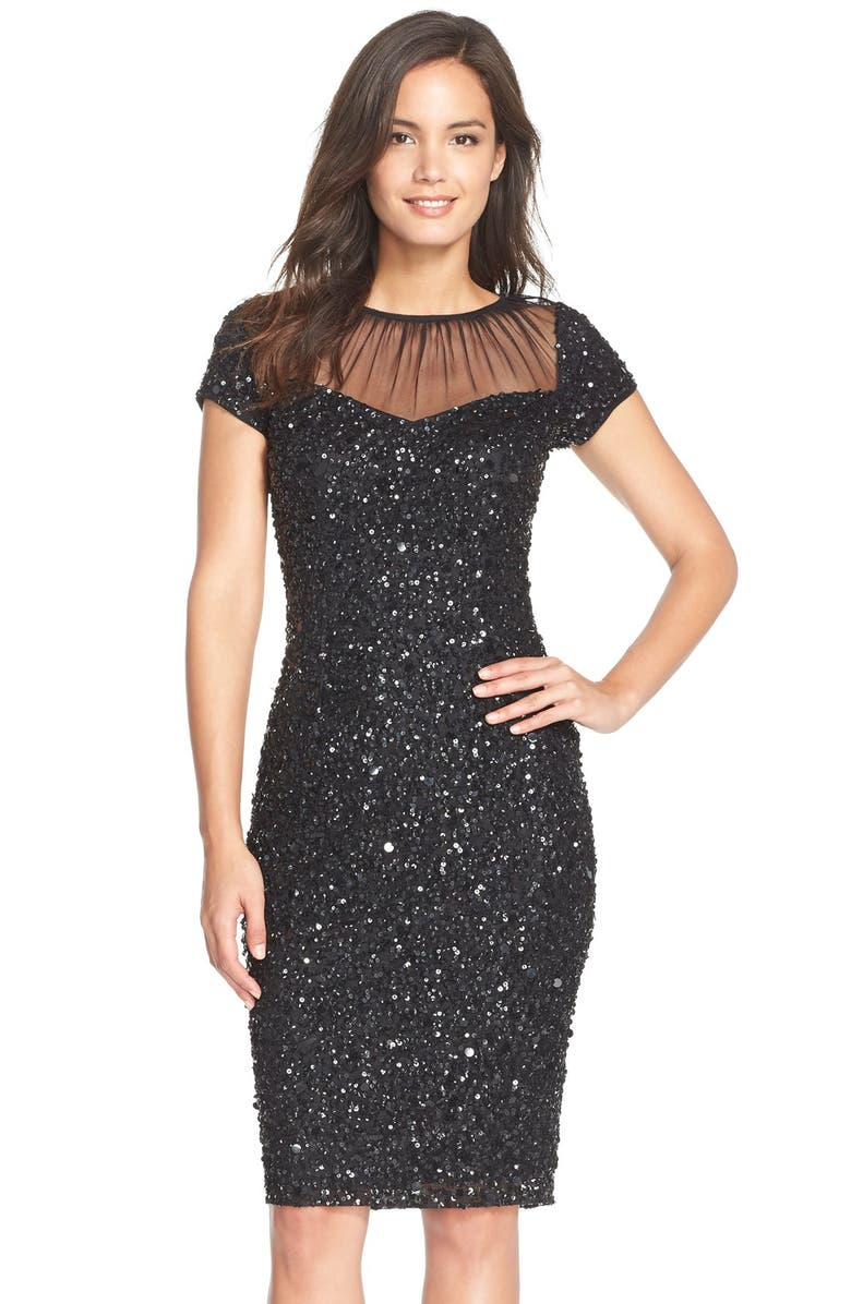ADRIANNA PAPELL Sequin Embellished Sheath Dress, Main, color, Black