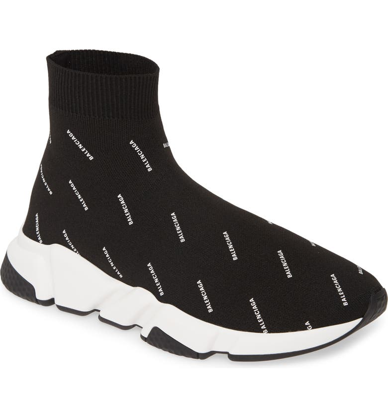 BALENCIAGA Logo Speed Slip-On, Main, color, 001