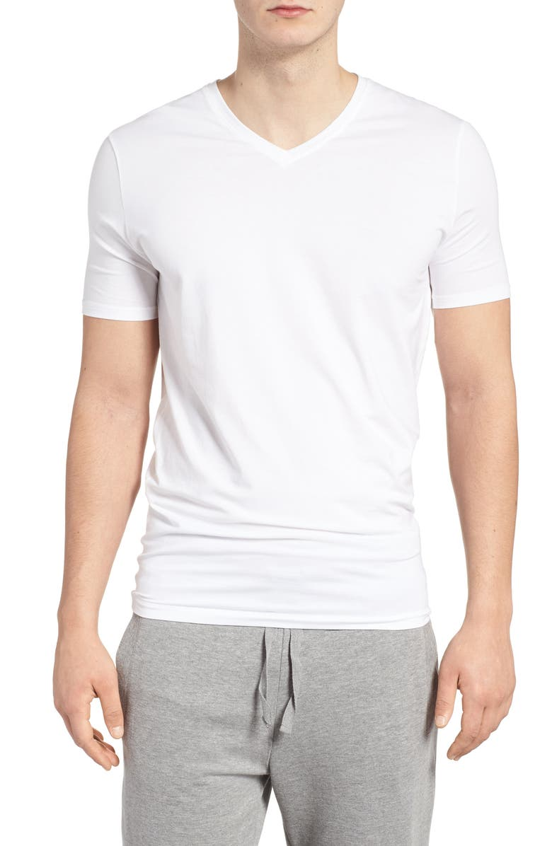 TOMMY JOHN Cool Cotton High V-Neck Undershirt, Main, color, WHITE