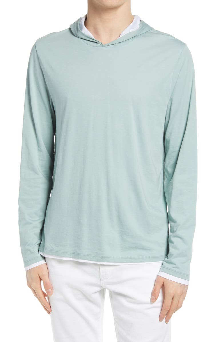 VINCE Regular Fit Double Layer Hoodie, Main, color, POOLSIDE/ OPTIC WHITE