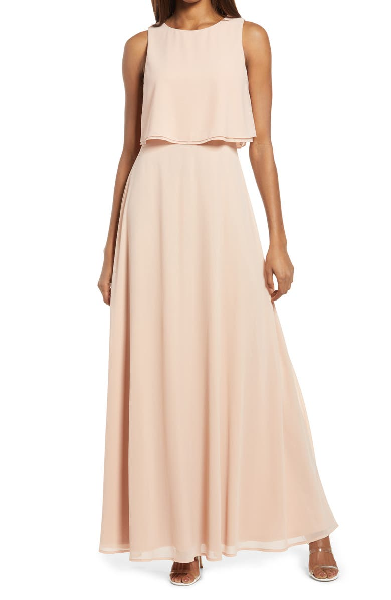 LULUS Utterly Enchanting Popover Chiffon Gown, Main, color, BLUSH
