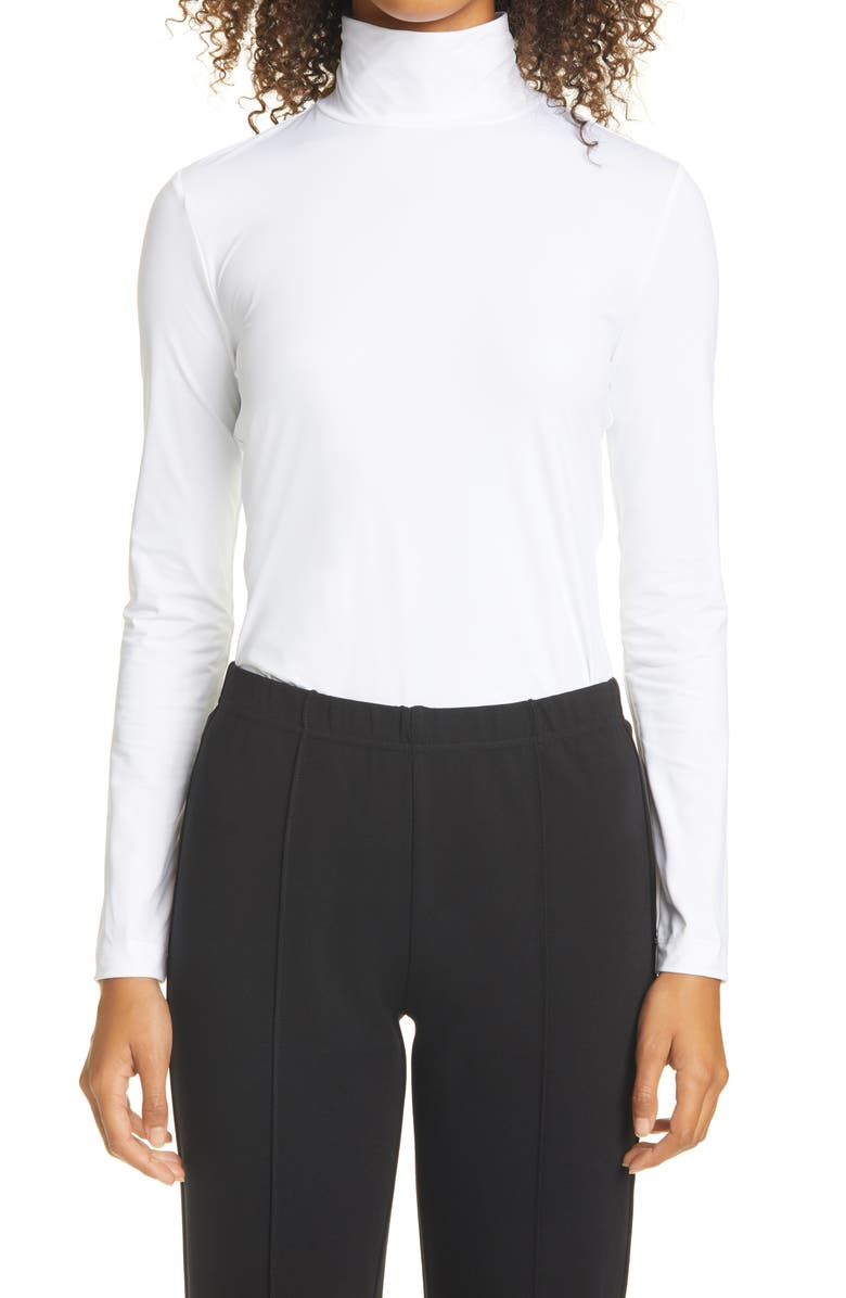 ST. JOHN COLLECTION Nuda Fine Jersey Turtleneck Shell, Main, color, WHITE