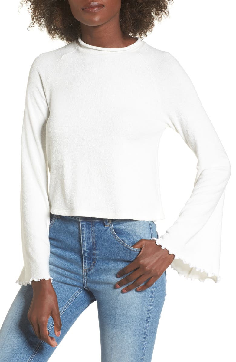 LOST + WANDER Knit Bell Sleeve Top, Main, color, 100