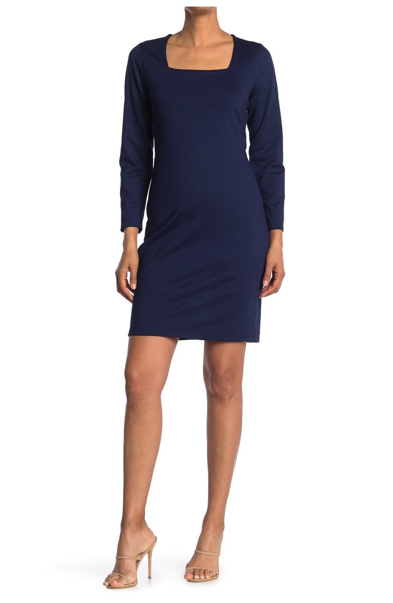 MAX AND ASH Square Neck Bodycon Dress, Main, color, NAVY