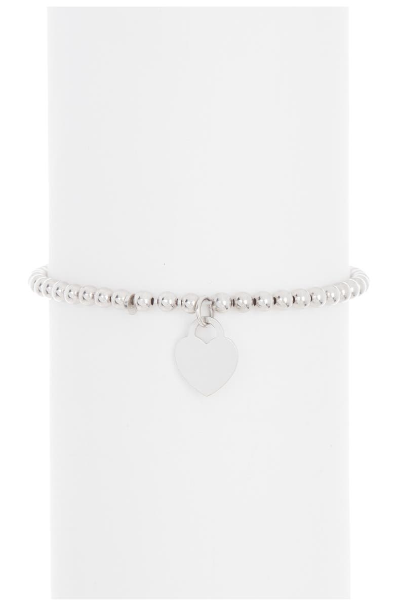 ADORNIA Sterling Silver Ball Bead Heart Charm Bracelet, Main, color, SILVER