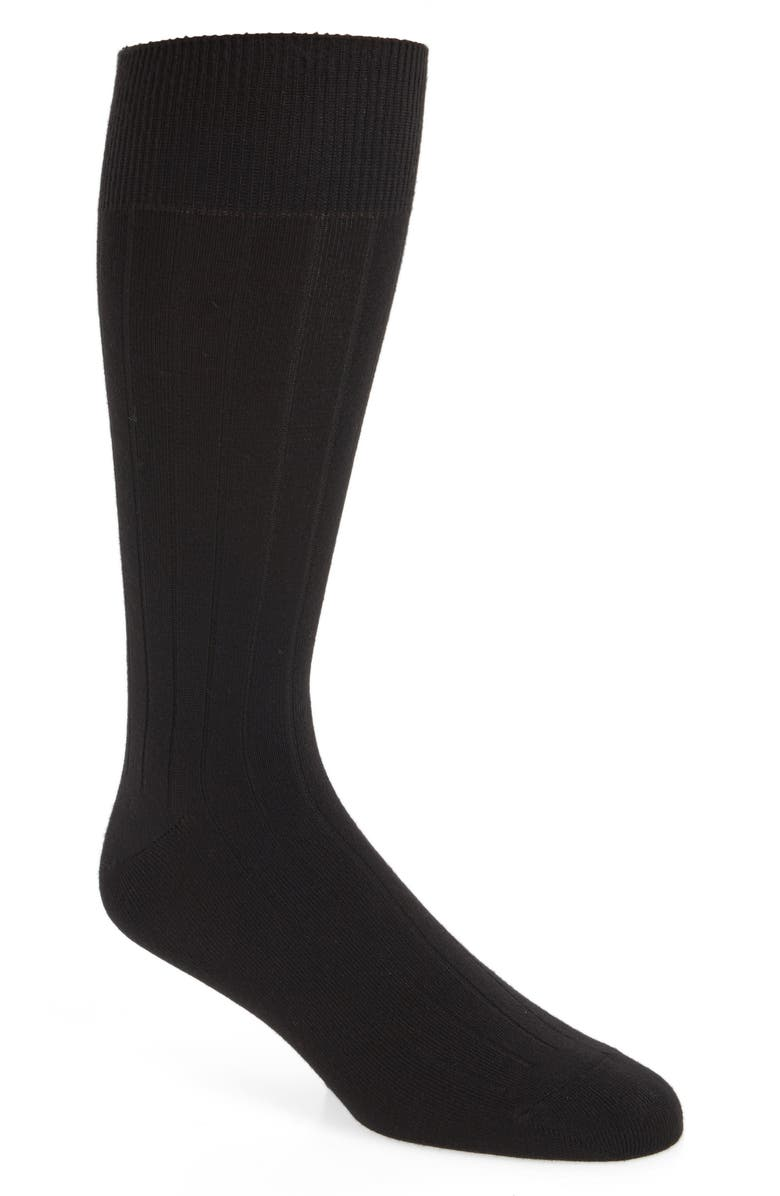 NORDSTROM MEN'S SHOP Nordstrom Ultra Soft Solid Ribbed Socks, Main, color, BLACK