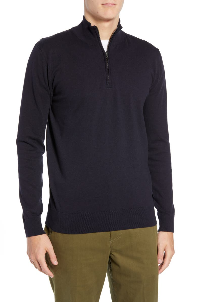 FRENCH CONNECTION Stretch Cotton Quarter Zip Sweater, Main, color, UTILITY BLUE