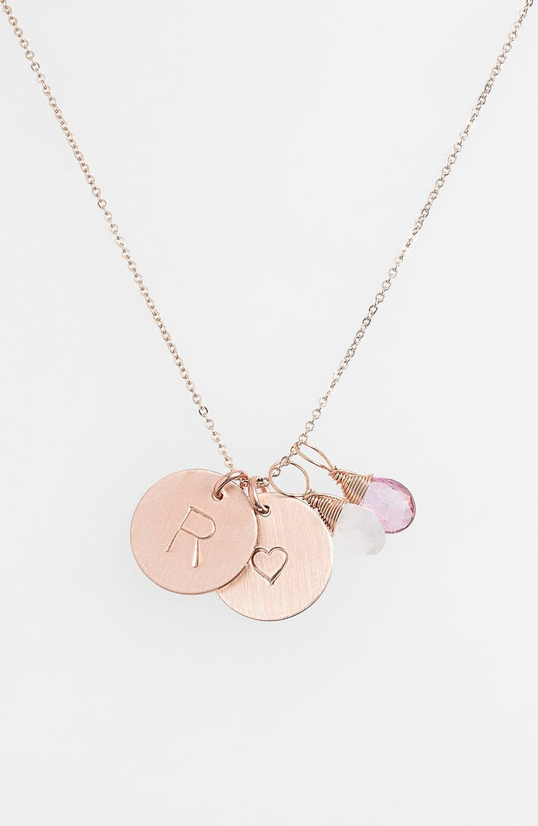 NASHELLE 14k-Gold Fill Heart Disc, Moonstone & Pink Quartz Initial Necklace, Main, color, MOONSTONE AND PINK R