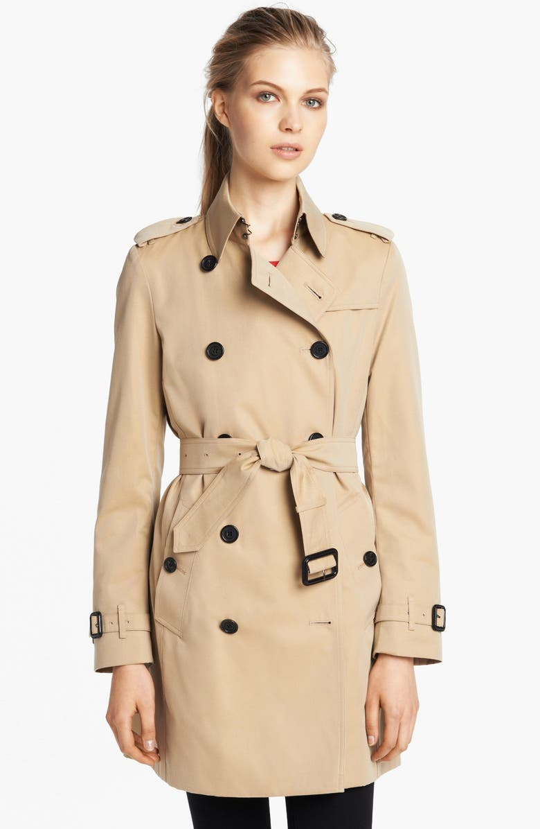 BURBERRY LONDON 'Buckingham' Double Breasted Cotton Trench, Main, color, 251