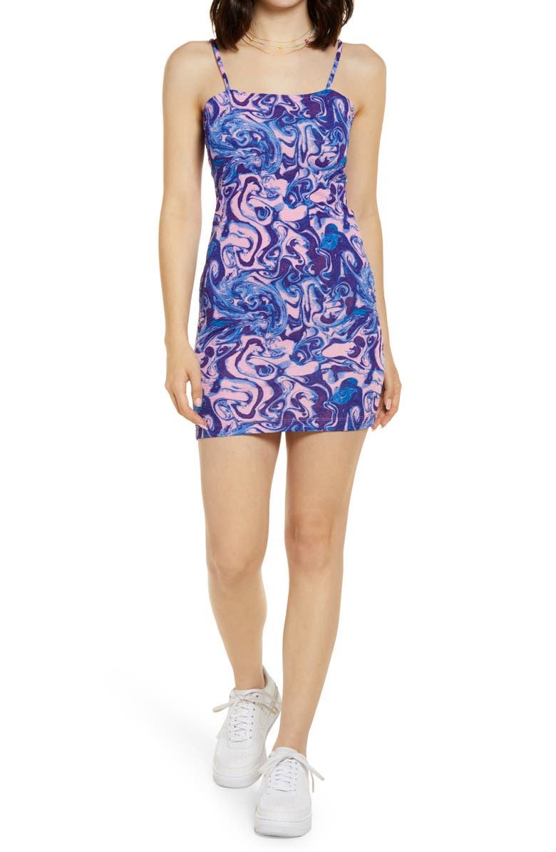 BP BE PROUD BP. Be Proud by BP Gender Inclusive Stretch Minidress, Main, color, PINK- BLUE SPACEY PRINT