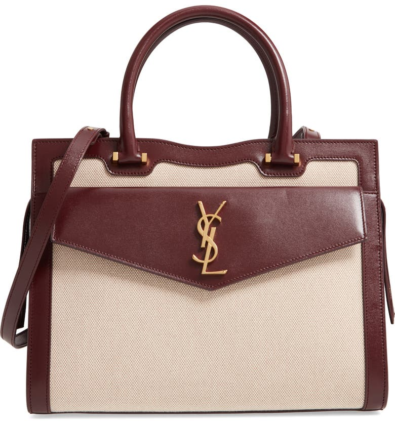 SAINT LAURENT Medium Uptown Cabas Satchel, Main, color, NATUREL/ BEIGE/ RED VELVET