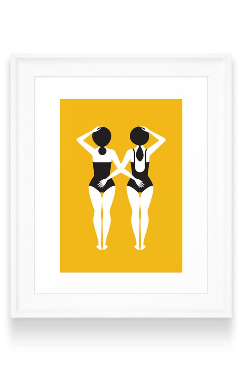 DENY DESIGNS The Swimmers Art Print, Main, color, WHITE FRAME