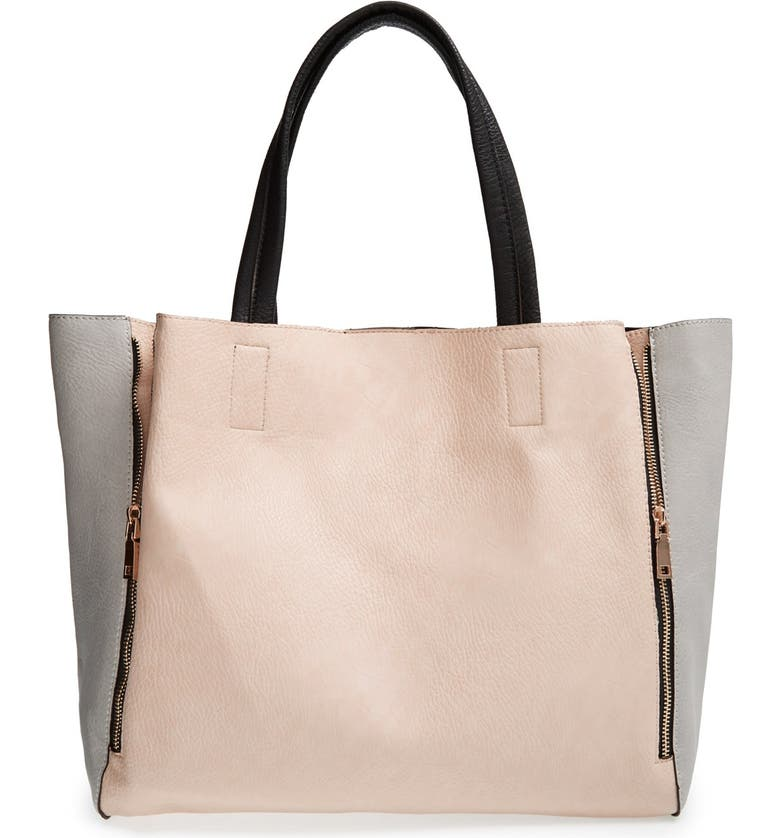 STREET LEVEL Colorblock Faux Leather Tote, Main, color, GREY/ NUDE