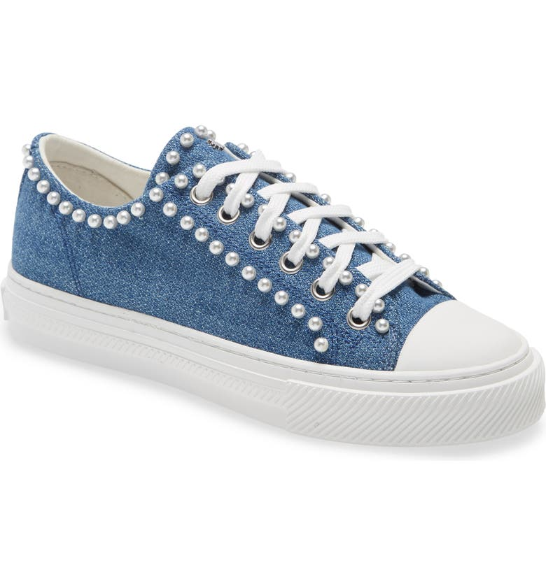 STUART WEITZMAN Ollie Mini Pearly Sneaker, Main, color, WASHED DENIM