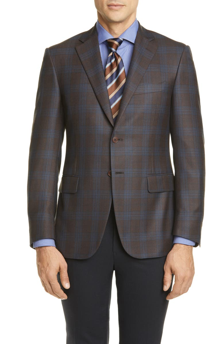 CANALI Sienna Soft Classic Fit Plaid Silk & Wool Sport Coat, Main, color, 200