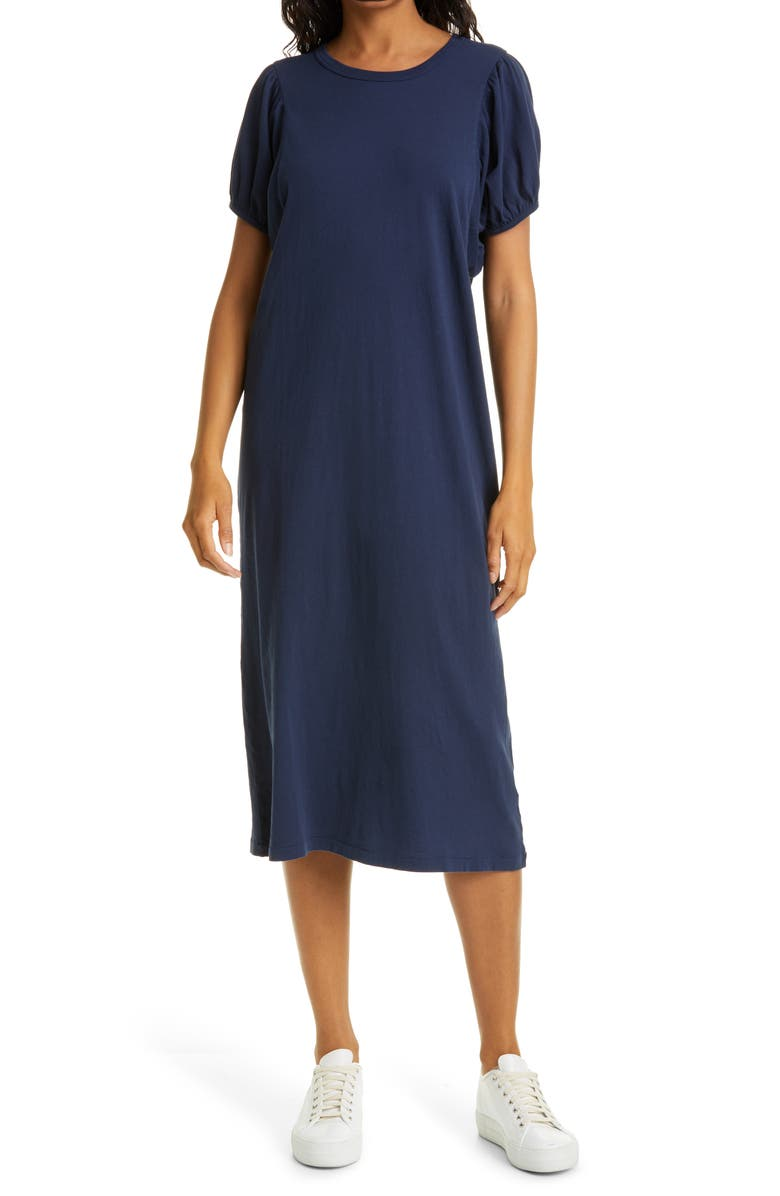THE GREAT. The Puff Sleeve Midi T-Shirt Dress, Main, color, NAVY
