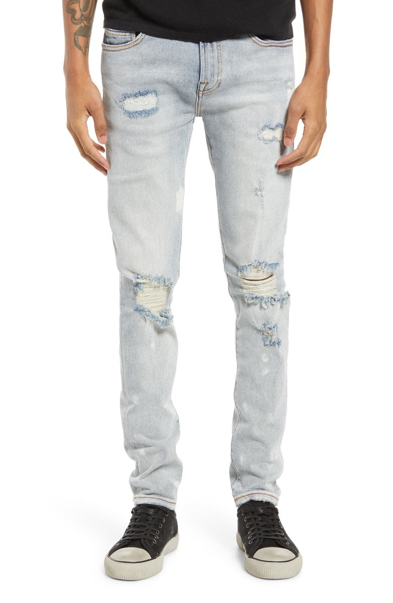 CULT OF INDIVIDUALITY Punk Men's Ripped Super Skinny Jeans, Main, color, BLEACH
