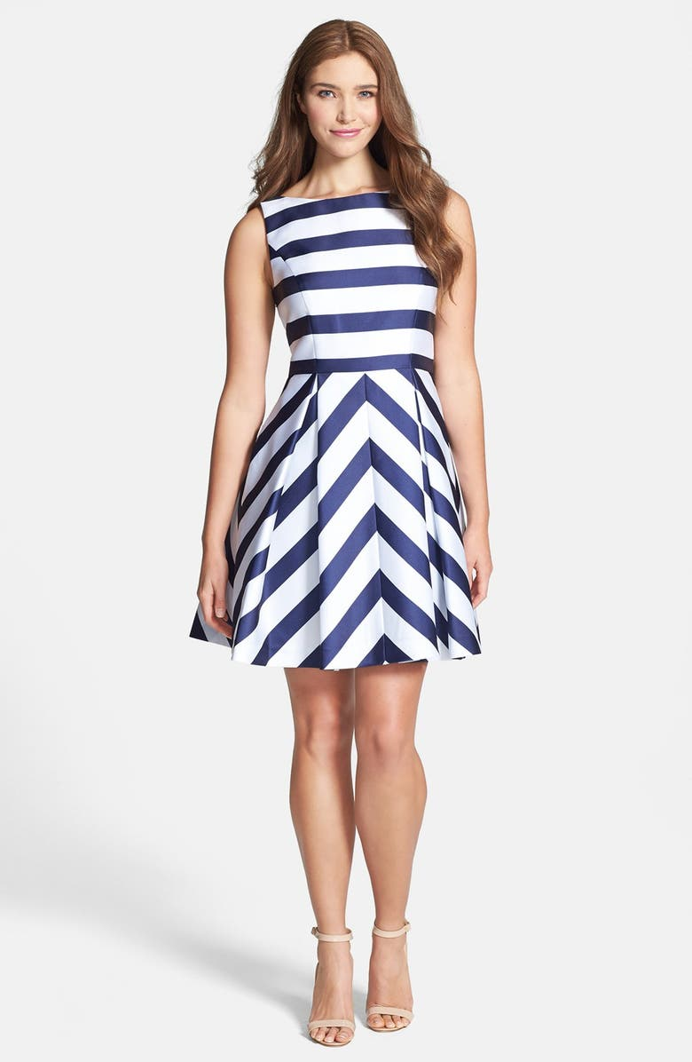 JESSICA SIMPSON Stripe Fit & Flare Dress, Main, color, 400