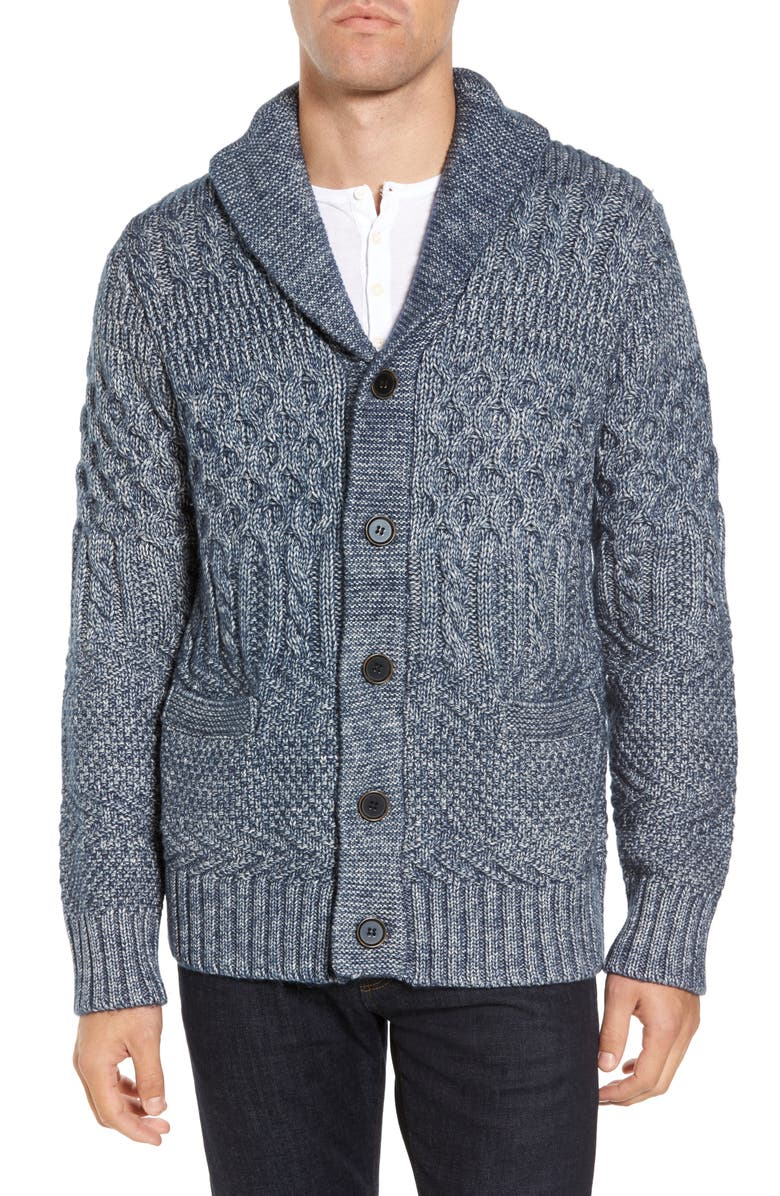 SCHOTT NYC Cable Knit Cardigan, Main, color, BLUE