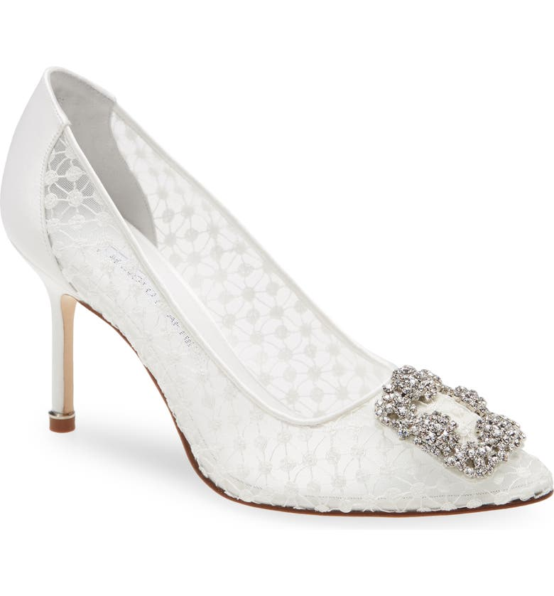 MANOLO BLAHNIK Hangisi Crystal Buckle Lace Pump, Main, color, WHITE