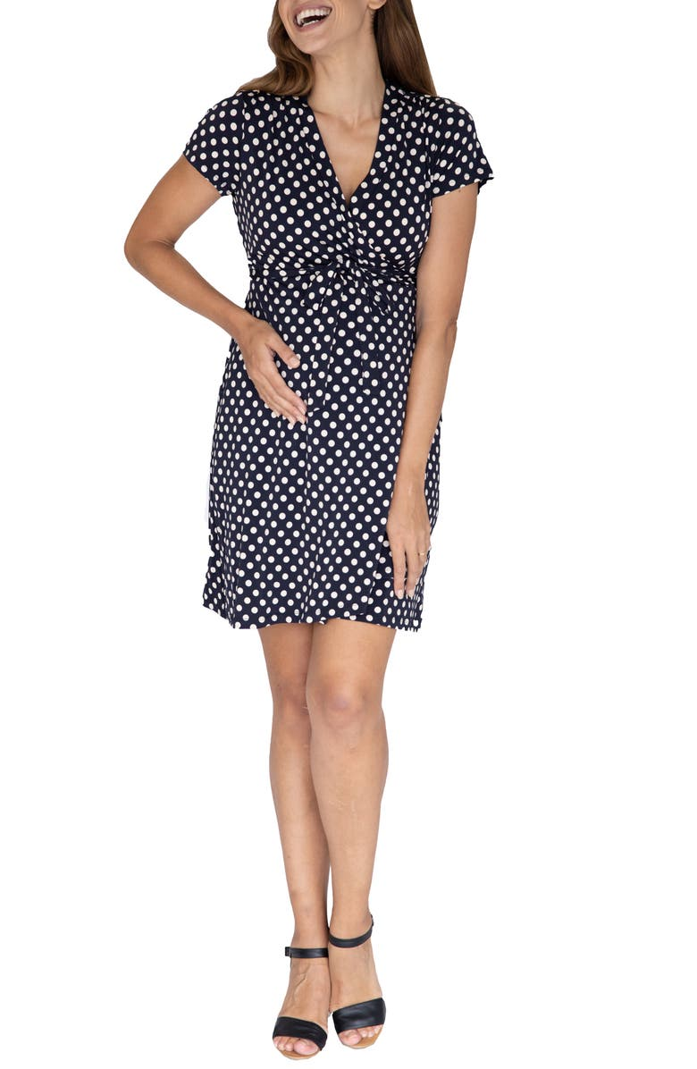 ANGEL MATERNITY Polka Dot Maternity/Nursing Wrap Dress, Main, color, Black
