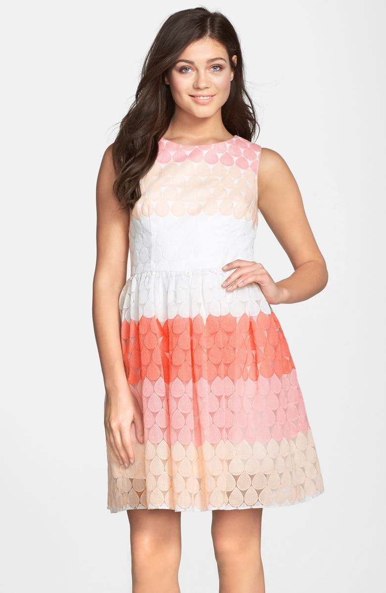 BETSEY JOHNSON Stripe Embroidered Fit & Flare Dress, Main, color, PINK MULTI
