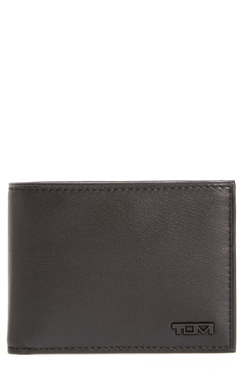 TUMI Delta Double ID Lock<sup>™</sup> Shielded Leather Wallet, Main, color, 007