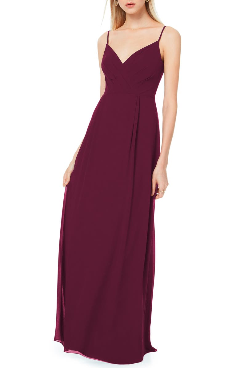 #LEVKOFF Surplice Neck Chiffon A-Line Gown, Main, color, 930