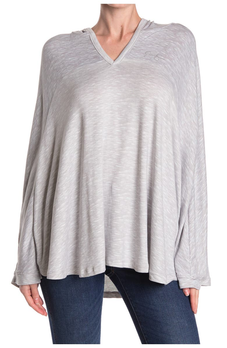 JESSICA SIMPSON Heathered V-Neck Hooded Lounge Poncho, Main, color, HEATHER GREY