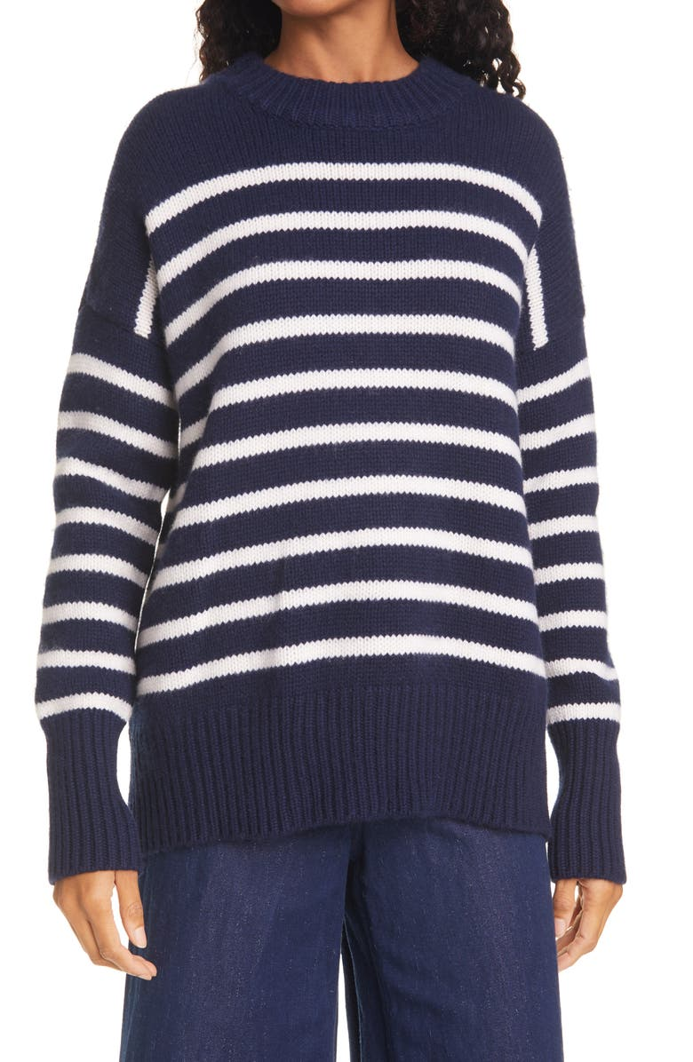 LA LIGNE Marin Wool & Cashmere Sweater, Main, color, NAVY/ CREAM