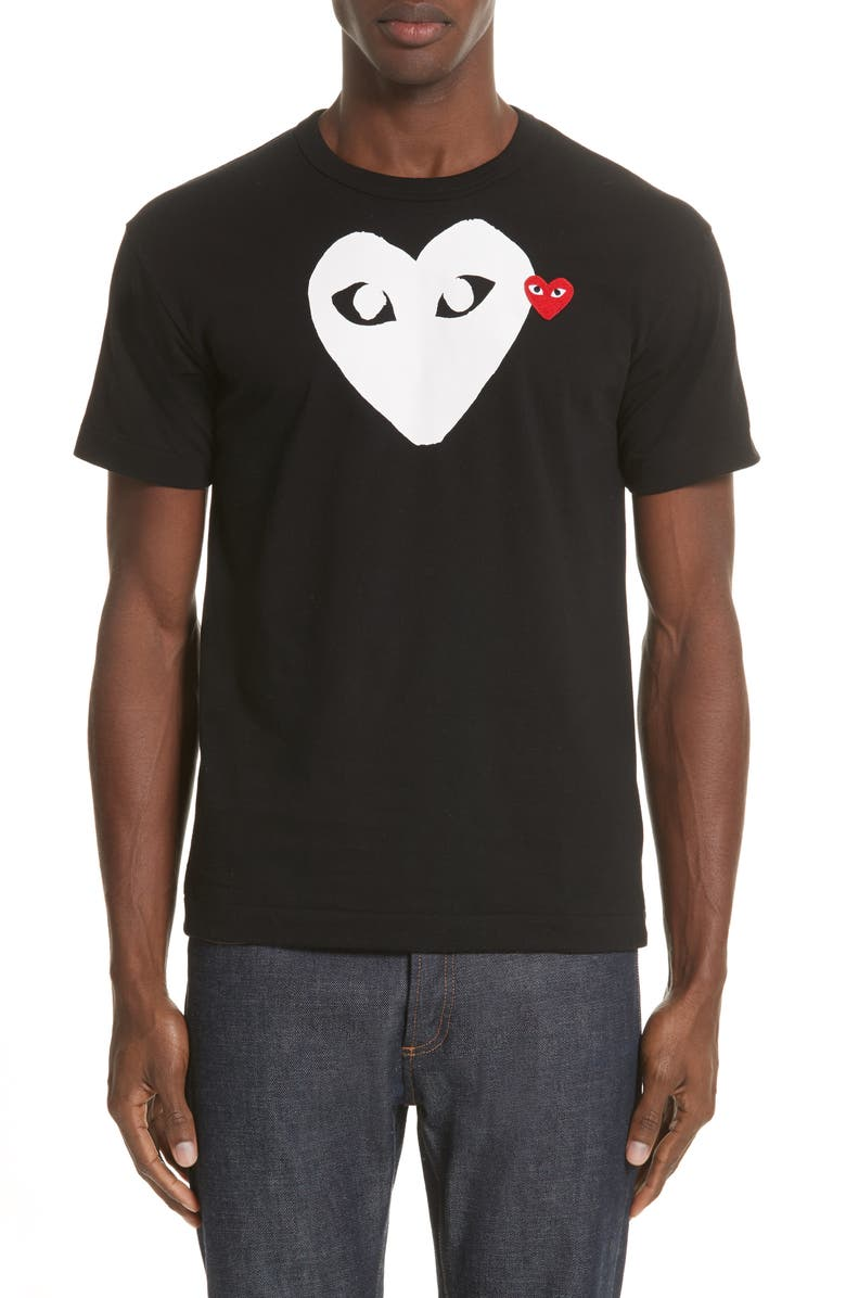 COMME DES GARÇONS PLAY X-Ray Heart Logo Graphic Tee, Main, color, BLACK 1