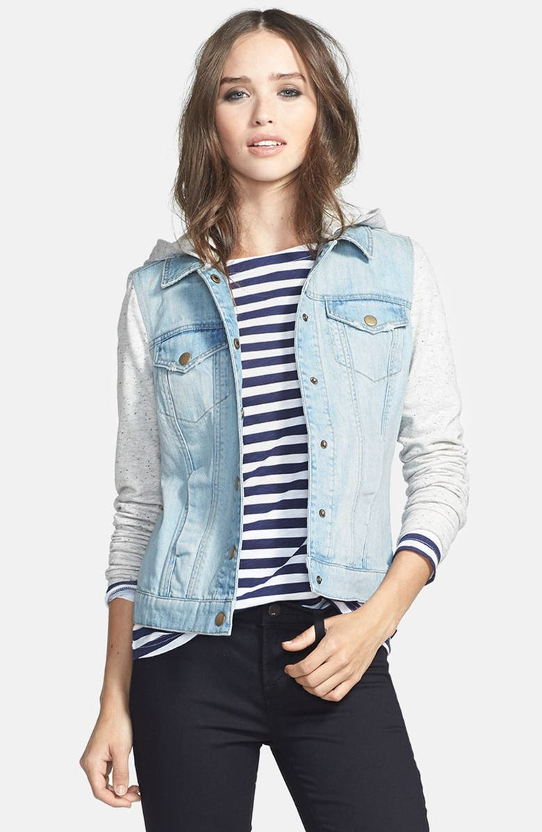 HINGE Knit Sleeve Denim Jacket, Main, color, 450